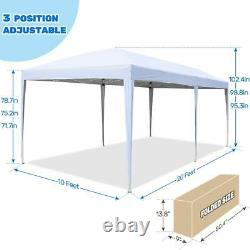 Quictent 10X20 Outdoor EZ Pop Up Tent Folding Wedding Party Patio Canopy Gazebo