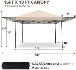Quictent 10x15.7ft Beige EZ Pop Up Canopy Outdoor Gazebo Party Tent With Carry Bag