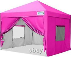 Quictent 8x8 EZ Pop Up Canopy Tent Outdoor Commercial Gazebo With4 Sidewalls Pink