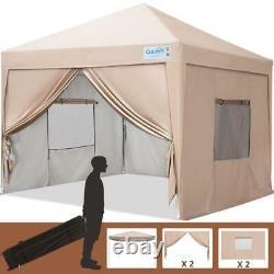 Quictent 8x8ft Beige Commercial Pop up Gazebo Canopy Outdoor Wedding Party Tent