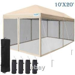 Quictent Outdoor Folding Tent EZ Pop Up Gazebo Mesh Party Canopy Shelter Beige