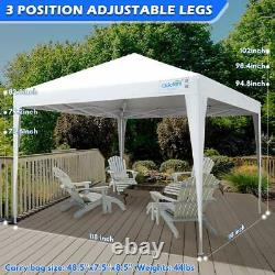 Quictent White 8'x8' Outdoor Pop Up Canopy Party Folding Patio Gazebo Tent Shade
