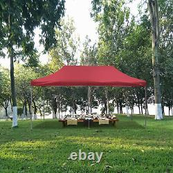Red Pop Up Outdoor Party Canopy Tent 10'x20' Sun Shade Patio Gazebo Shelter