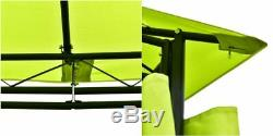 Screened Gazebo Outdoor Canopy Steel Waterproof Tent Curtains Metal Green Garden
