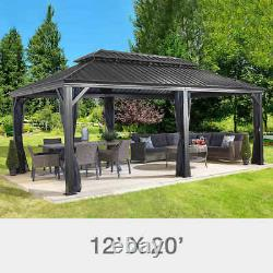 Sojag Messina Steel Roof Sun Shelter 12 X 20 Outdoor Gazebo With Netting
