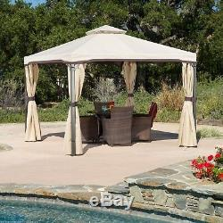Sonoma Outdoor Traditional Brown Steel Gazebo Canopy with Water-Resistant Cover