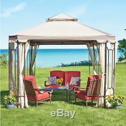 Square Outdoor Gazebo With Netting Canopy Backyard 10 x 10 Garden Patio Wedding