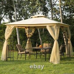 Steel Garden 10' x 10' Gazebo Netting Canopy Shelves Outdoor