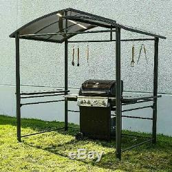 Steel Hardtop BBQ Grill Gazebo With Serving Tables Outdoor Party Sun Shade Tent
