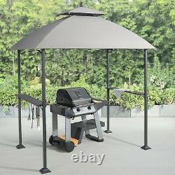 Steel Outdoor Grill BBQ Gazebo Shelter Canopy Shade Top 2 Shelves Patio Backyard