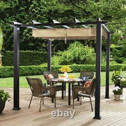 Steel Pergola Gazebo Adjustable Gliding Canopy 9' x 9' BLACK-Tan Outdoor Patio