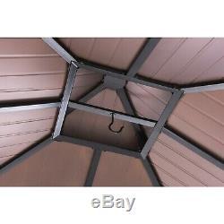 Sunjoy 10' x 10' Hearty Steel Hardtop Gazebo for Outdoor Sun Shade Copper Finish