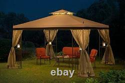 Sunjoy Gazebo Netting 10 x 12 New Sturdy Steel Gray Black Outdoor Garden Shade