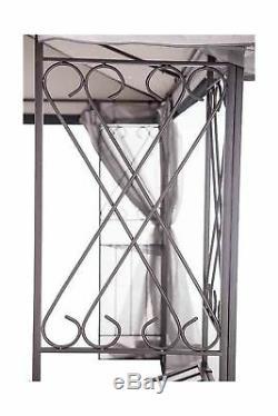 Sunjoy Gazebo with Netting 10 x 12 Sturdy Steel Gray Black Outdoor Garden Shade