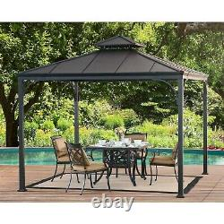 Sunjoy Harper Steel Hardtop Gazebo, 10' x 10' Outdoor Sun Shade Patio Shelter, C