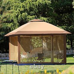Suntime Outdoor Pop Up Gazebo Canopy with Mosquito Netting and Solar LED Light
