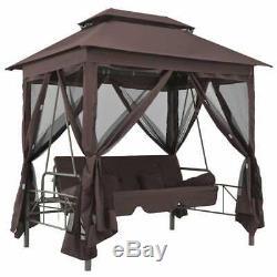 VidaXL Gazebo Swing Bench Coffee Garden Outdoor Patio Seat Hammock Relaxer