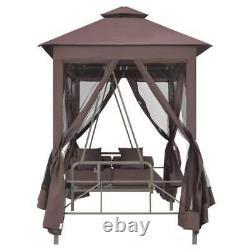 VidaXL Gazebo Swing Chair Garden Patio Porch Seat Hammock Cream White/Coffee