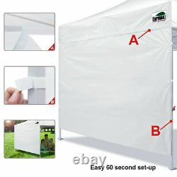 White 10x10 Smart Pop Up Canopy Outdoor Event Craft Show Gazebo Party Tent