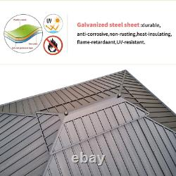 Yoleny 12' X 16 Hardtop Gazebo Galvanized Steel Outdoor Gazebo Canopy Double